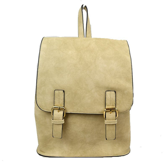 Double belted classic backpack - beige