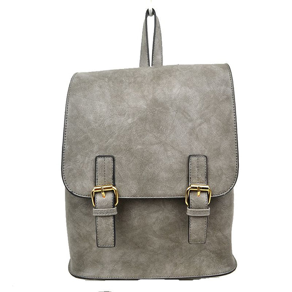 Double belted classic backpack - grey