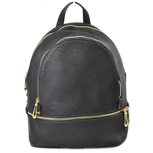 2 way zip backpack - black
