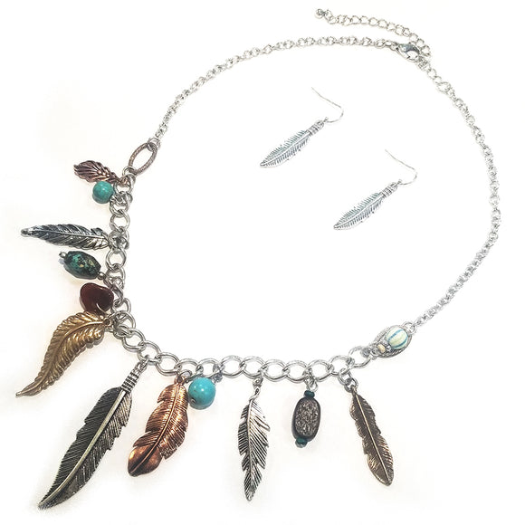 Multi feather drop necklace set