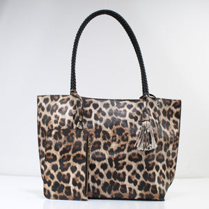 Leopard & rope handle tote - tan