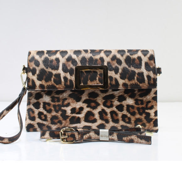 Leopard crossbody bag - tan