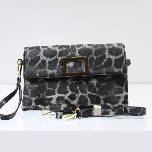 Leopard crossbody bag - gray