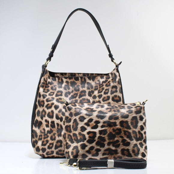 Leopard hobo bag - tan