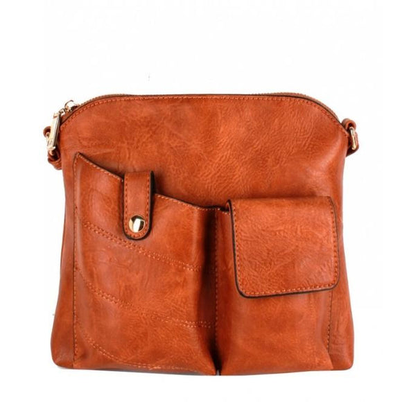 Two pocket crossbody bag - brown