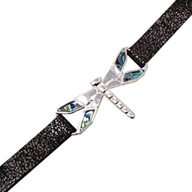 Dragonfly with abalone leather bracelet