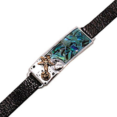 Sea  Life with abalone leather bracelet
