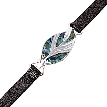 Leaf with abalone leather bracelet