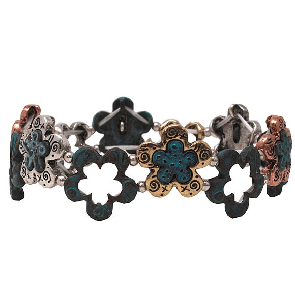 Multi flower bracelet - patina