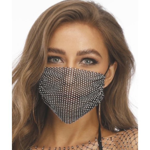 Rhinestone mask - black