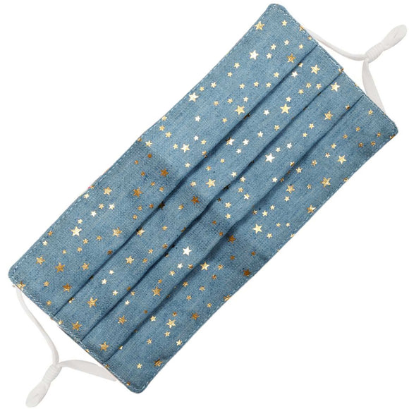 Denim gold foil cotton mask - star