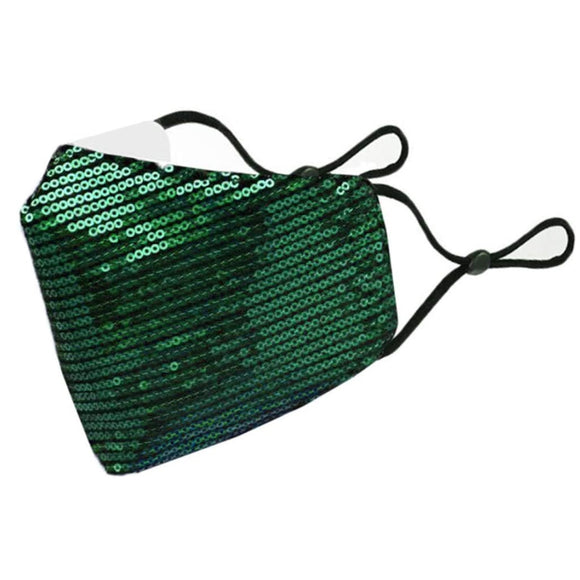 Sequin mask - green