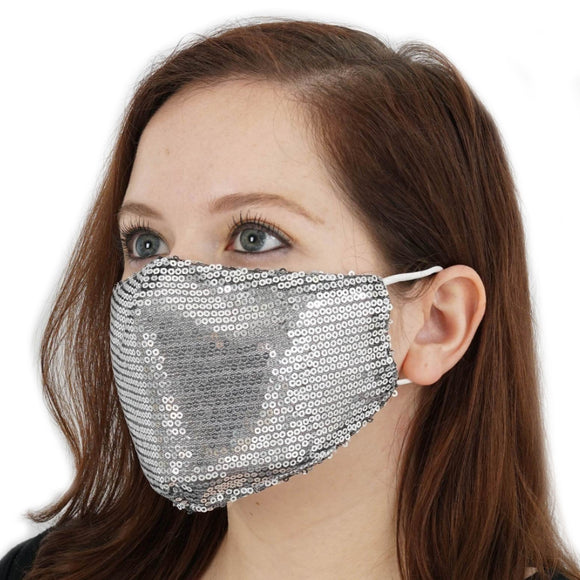 Sequin mask - silver