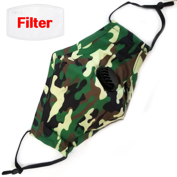 Cotton mask with breathing valve - camo