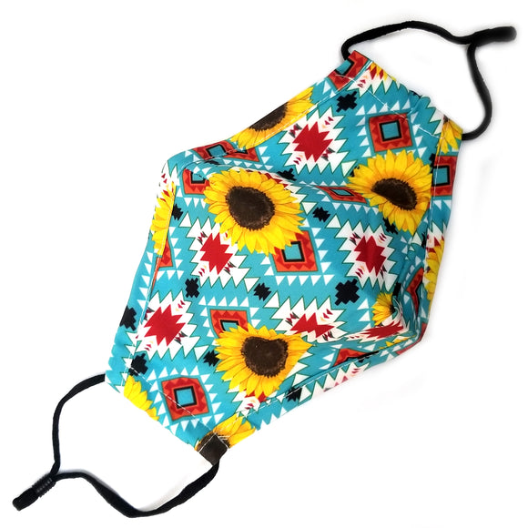 Cotton sunflower mask - aztec