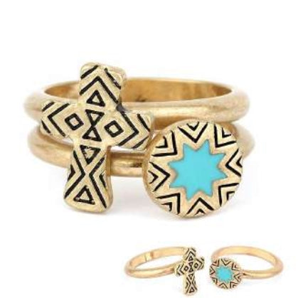 [12pcs set] Two cross and star rings - worn gold