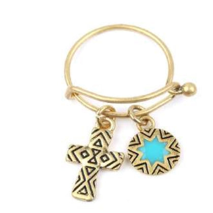 [12pcs set] Cross and Star pendant ring - gold