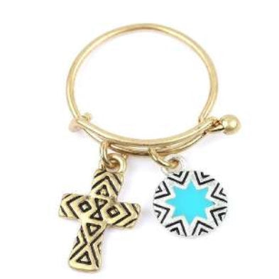 [12pcs set] Cross and Star pendant ring - gold silver
