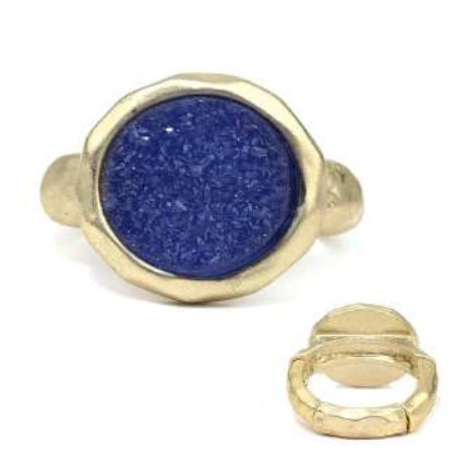 [12pcs set] Druzy round ring - blue