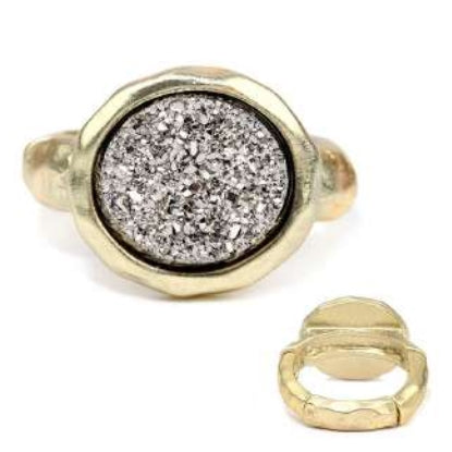 [12pcs set] Druzy round ring - hematite