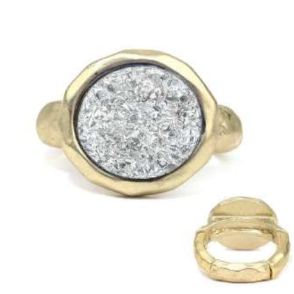 [12pcs set] Druzy round ring - matt gold
