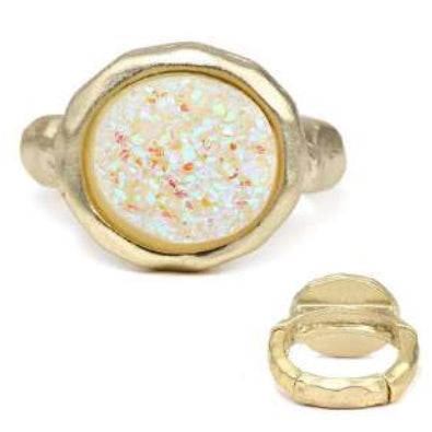 [12pcs set] Druzy round ring - white