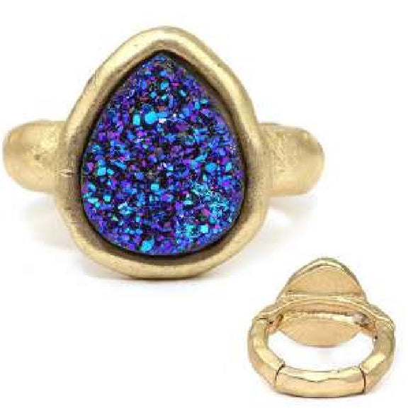 [12pcs set] Druzy tear drop shape ring - blue