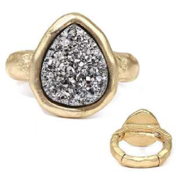 [12pcs set] Druzy tear drop shape ring - hematite