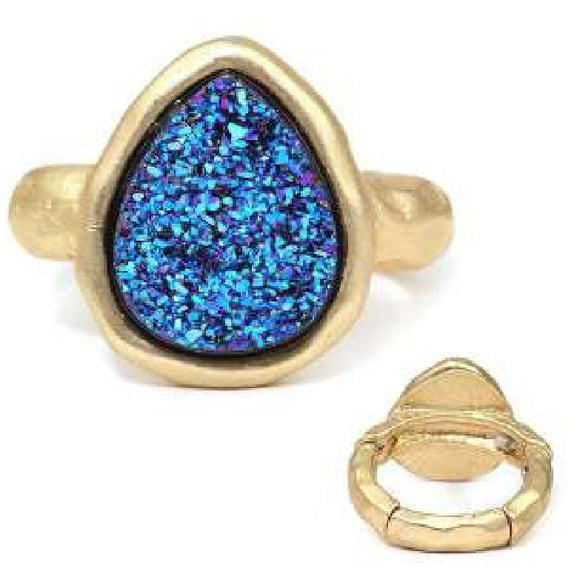 [12pcs set] Druzy tear drop shape ring - montana blue