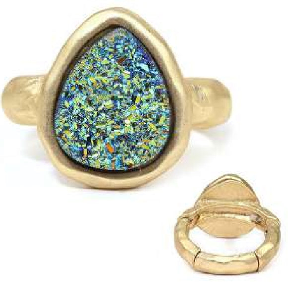 [12pcs set] Druzy tear drop shape ring - olive