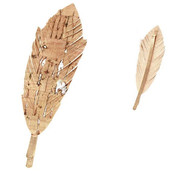[12pcs set] Leaf hair pin - beige