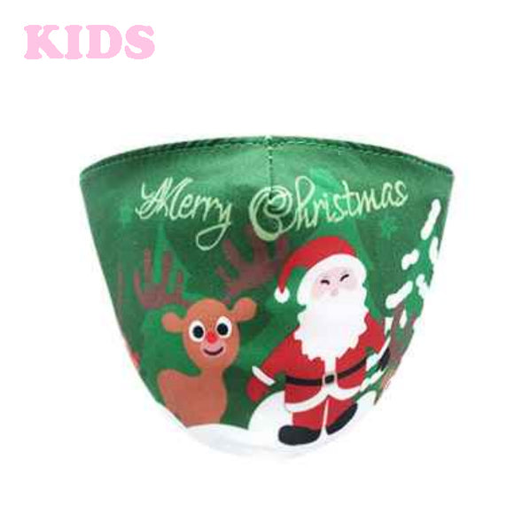 [12pcs set] Kids Christmas cotton mask - green