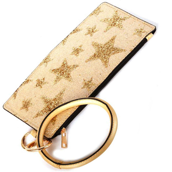 [12pcs set] Key ring star pouch - gold