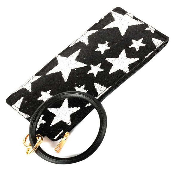 [12pcs set] Key ring star pouch - black white