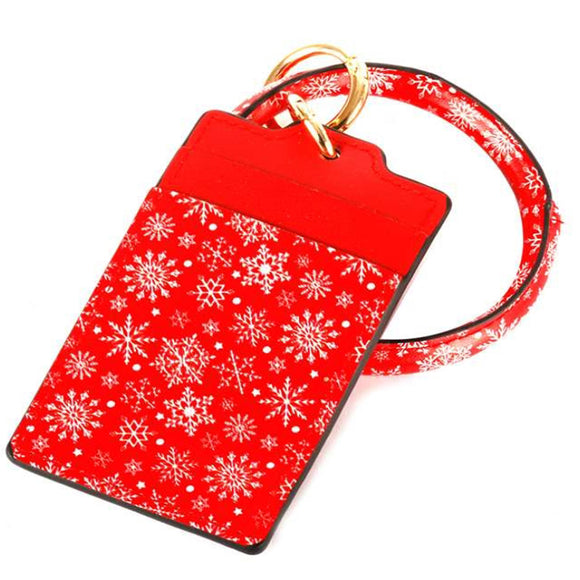 [12pcs set] Key ring snowflake ID card holder - red