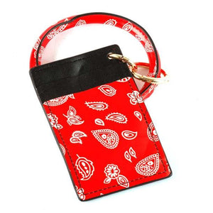 [12pcs set] Key ring paisley ID card holder - red