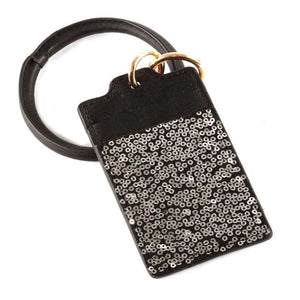 [12pcs set] Key ring sequin ID card holder - hematite