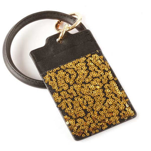 [12pcs set] Key ring sequin ID card holder - gold