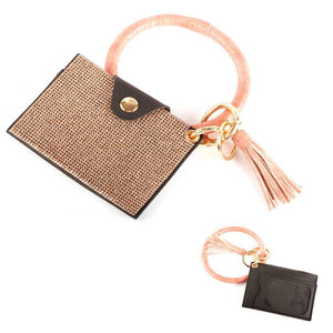 [12pcs set] Key ring stud ID card holder - rose gold