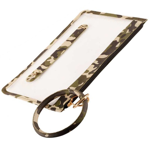 [12pcs set] Key ring clear pouch - green camo
