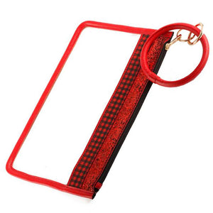 [12pcs set] Key ring sparkly top clear pouch - red