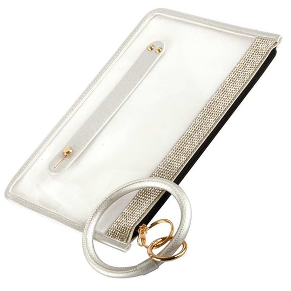 [12pcs set] Clear pave top pouch with key ring - silver