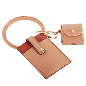 [12pcs set] Snap closure ID card holder with key ring - beige