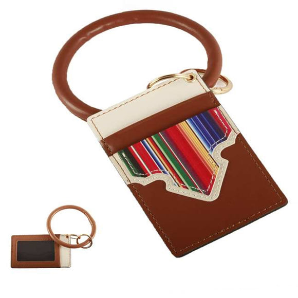 [12pcs set] Aztec pattern ID card holder with key ring - brown
