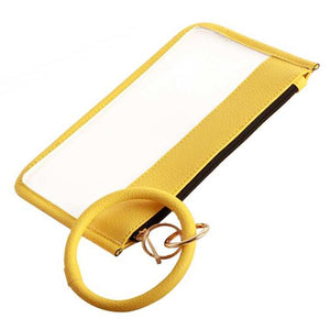 [12pcs set] Clear pouch with key ring - yellow
