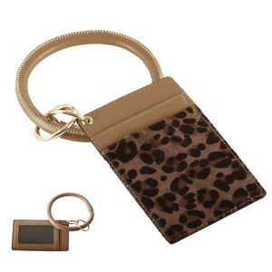 [12pcs set] Leopard ID card holder with key ring - brown