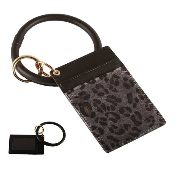 [12pcs set] Leopard ID card holder with key ring - black