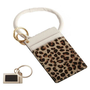 [12pcs set] Leopard ID card holder with key ring - beige