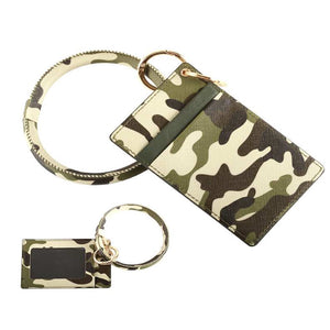 [12pcs set] Camo ID card holder with key ring - green