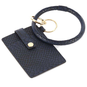 [12pcs set] Snake textured ID card holder with key ring - navy
